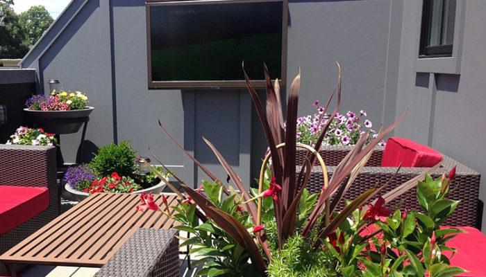 Outdoor tv on a balcony