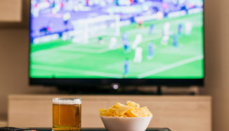 Watching football on a TV
