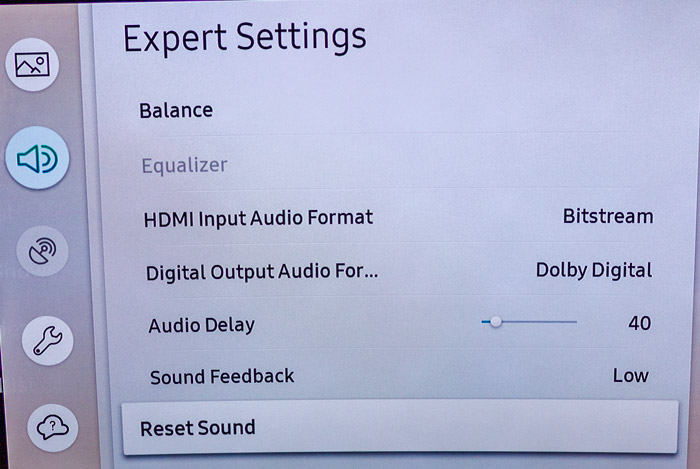 Reset tv sound setting