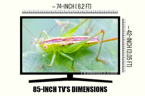 The dimensions of 85-inch TV