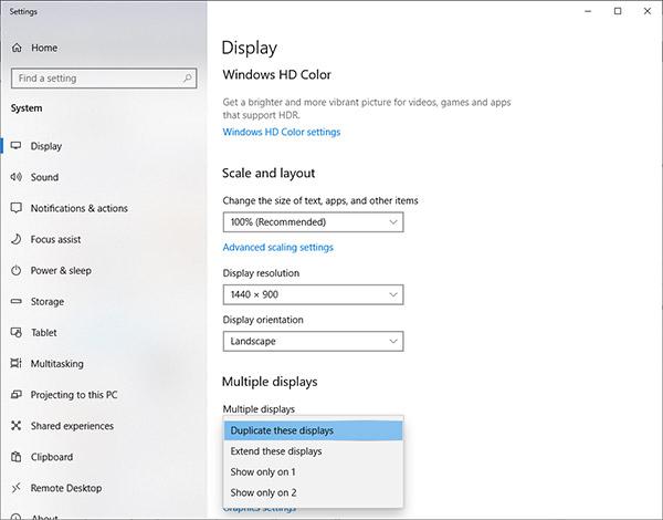 Duplicate display menu